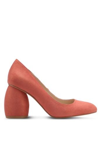 ZALORA 粉紅色 經典麂皮粗跟高跟鞋 01DDFSH91B9DAFGS_1