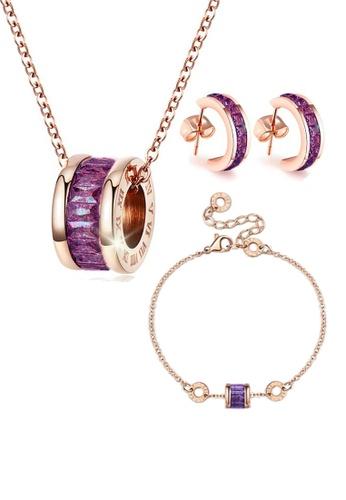 CELOVIS purple and gold CELOVIS - Oceane Purple Cryolite Necklace + Bracelet + Earrings Jewellery Set AFA68AC2C6FBBBGS_1