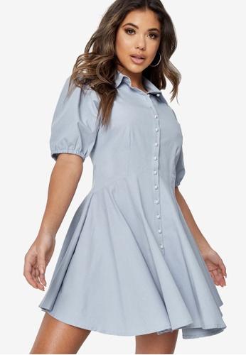 MISSGUIDED blue Button Down Skater Shirt Dress A6575AAFA25BF1GS_1