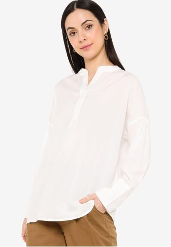 ZALIA BASICS white Relaxed Placket Shirt D479EAAB3E5A50GS_1