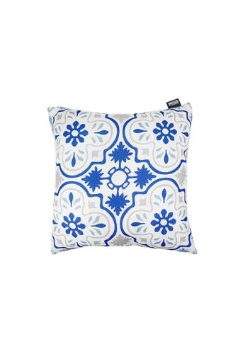 HOUZE blue HOUZE - LIV Peranakan Cushion Cover - Blue D 196FCHL91BB227GS_1