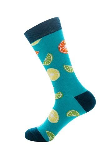Kings Collection blue Lake Blue Lemon Pattern Cozy Socks (EU39-EU45) DD8B1AA97558FCGS_1