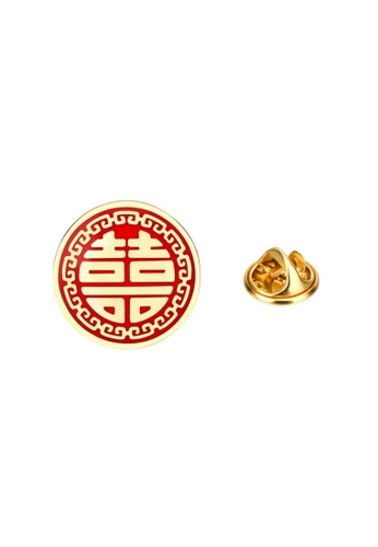 Kings Collection gold Double Happiness Enamel Pin (KCPN1041) CF760AC408A0F4GS_1