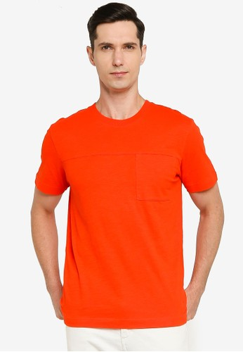 Selected Homme red and orange Regrick Ss O-neck Tee 36332AAA96EAACGS_1