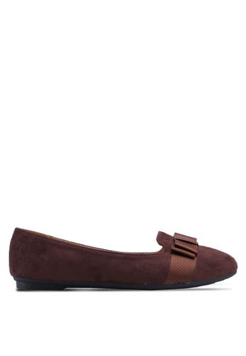 Noveni brown Round Toe Flats With Bow 94376SH97FC993GS_1