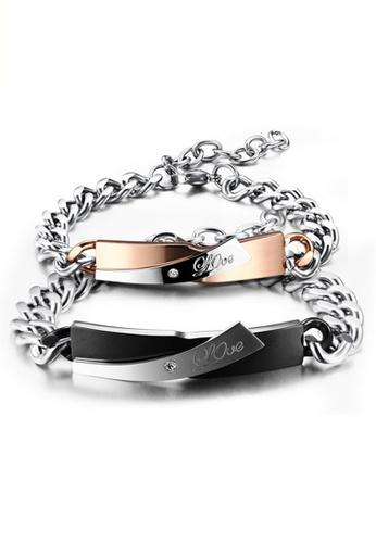 Trendyshop black and gold Love Couple Bracelet Set TR116AC2VMNXHK_1