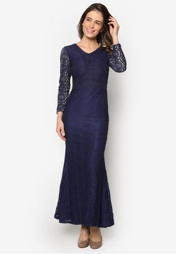 VERCATO navy Baju Kurung Lace Maxi Dress - Vercato Vika VE999AA46GCFMY_1