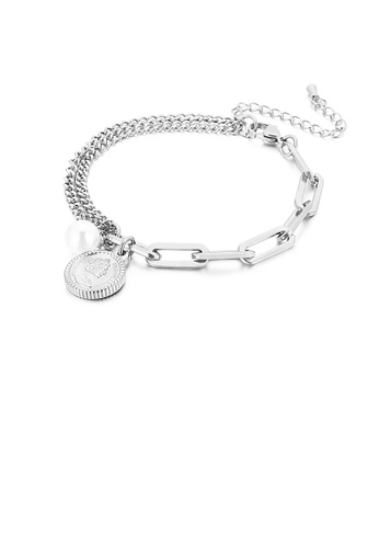 Glamorousky white Fashion and Simple Elizabethan Round Imitation Pearl 316L Stainless Steel Bracelet A2920ACC7DD6F7GS_1