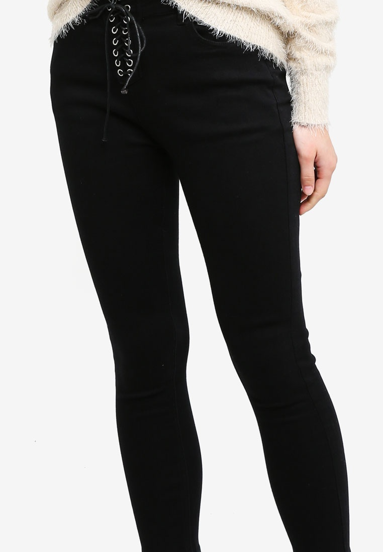 Something Lace Fly Black Cropped Washed Jeans Borrowed Up wt75tr