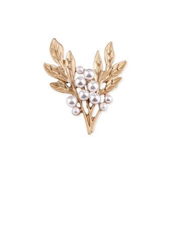 Glamorousky white Fashion and Elegant Plated Gold Branch Imitation Pearl Brooch D40ECAC41266D5GS_1
