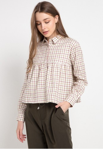 POP U brown Plaid L/S Blouse 063BEAAFB71C5CGS_1