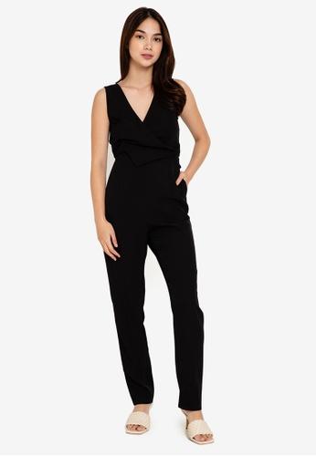 ZALORA WORK black Asymmetric Flap Jumpsuit 57C1DAA4F3529BGS_1