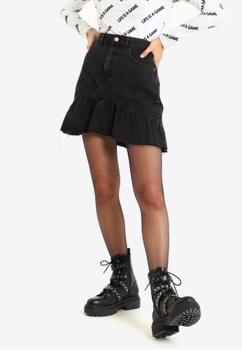 PIMKIE black Denim Ruffle Skirt 882B4AA6CF3DB4GS_1