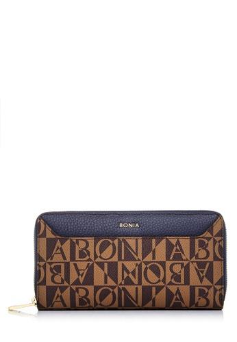 BONIA blue Dark Blue Monogram Annelise Long Zipper Wallet 81DBEAC12E8C20GS_1