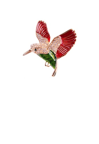 Glamorousky white Fashion Bright Plated Gold Enamel Red Peace Dove Brooch with Cubic Zirconia 61754ACA633A6FGS_1