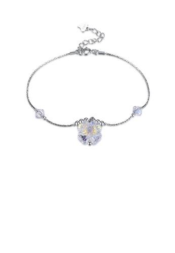 Glamorousky white 925 Sterling Silver Simple Elegant Four Leafed Clover Austrian Element Crystal Bracelet 64B18ACF8CECA8GS_1