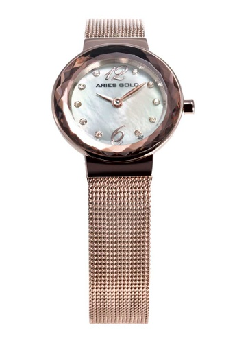 Aries Gold pink Aries Gold Enchant Jewel Rose Gold Stainless Steel Mesh Watch 34240AC8536F43GS_1