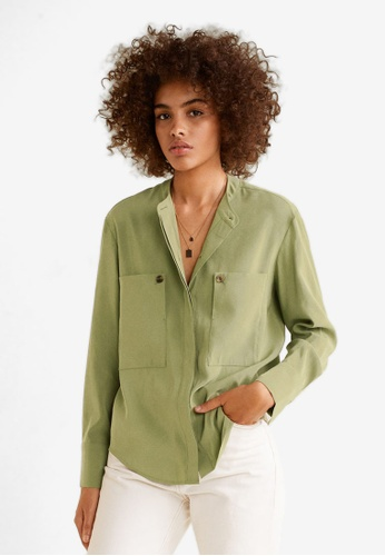 Mango green Patch Pocketed Shirt CA397AA4B9D35AGS_1