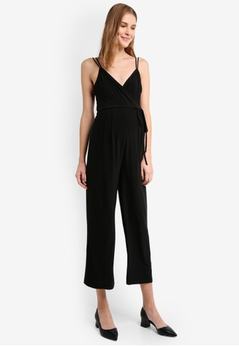 TOPSHOP black Maternity Slinky Wrap Jumpsuit TO412AA0T0WHMY_1