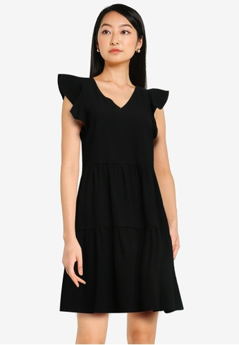 ZALORA BASICS black Flutter Sleeve Mini Dress 97B92AABE7AEC7GS_1