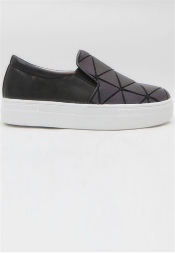 Crystal Korea Fashion black Korean New Triangle Pattern Collage Slip-Ons C9EEDSH1F84984GS_1