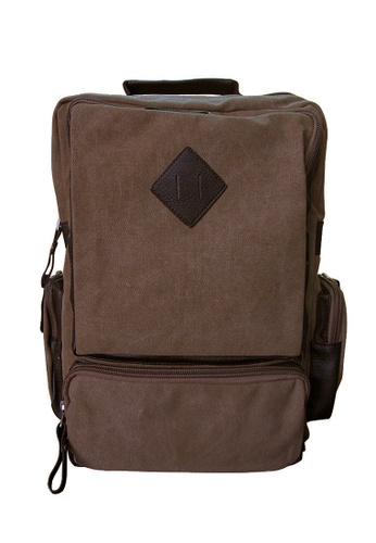 Chase Fashion brown Canvas Backpack with Diamond Patch CH547AC96EKTPH_1