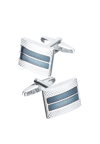 Kings Collection blue Rectangular Crystal Cufflinks A4A61AC610949BGS_1