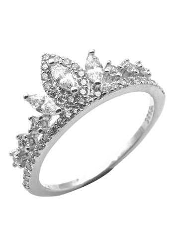 Elfi silver Elfi 925 Genuine Silver Engagement Ring P48 - The Silver Crown EL186AC04NLBMY_1