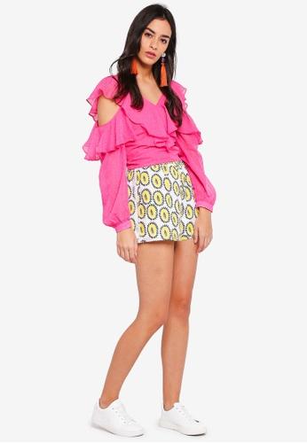 GHOSPELL pink Lovesick Cold-Shoulder Top 1D4B6AAE91EAE8GS_1