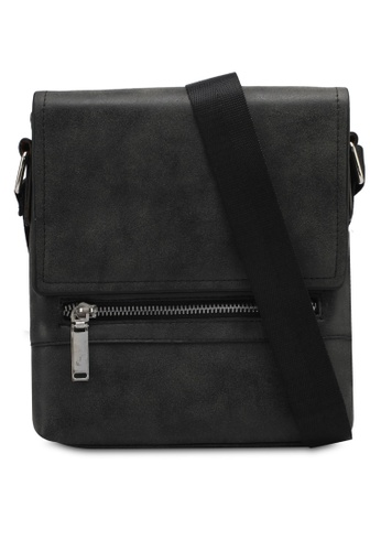 ZALORA black Small Mens Shoulder Bag With Zip Front Detail 6185EZZ2B26F15GS_1