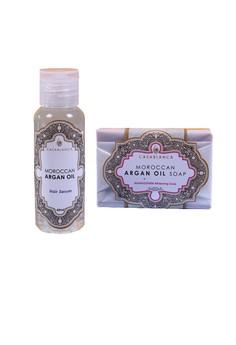 Moroccan Argan Oil Hair Serum 60ml (Elite) with Moroccan Argan Oil Mangosteen Whitening Soap 135g (Elite) Bundle