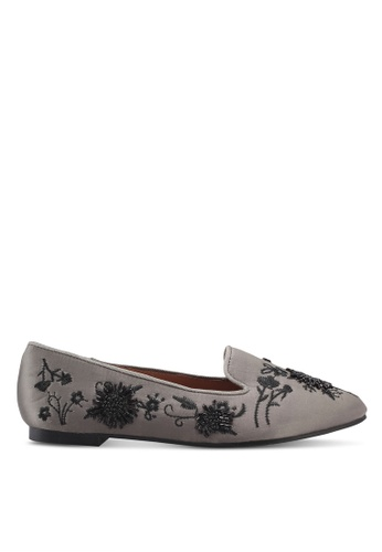 TOPSHOP grey Syrup Embroidered Slippers 3609CSH5ABD606GS_1