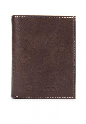 ENZODESIGN brown Leather Vertical Mini Size Slim Cardholder Wallet EN115AC84DBNPH_1