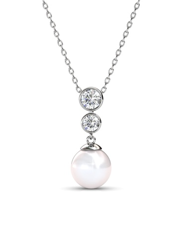 Her Jewellery silver Swarovski® Crystals - Bubbly Pearl Pendant (18K White Gold Plated) Her Jewellery HE581AC0R9UNMY_1
