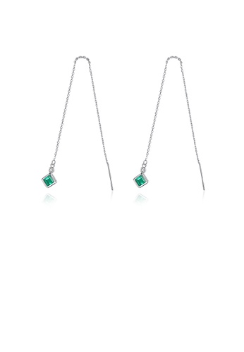 Glamorousky green 925 Sterling Silver Simple Fashion Geometric Diamond Tassel Earrings with Green Cubic Zirconia 55898AC023409EGS_1