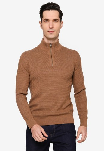 Banana Republic brown Merino Waffle Half Zip Sweater 68CC2AAA2E07B5GS_1