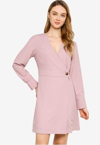 ZALORA WORK pink Trim Detail Wrap Dress FD191AACD26AA5GS_1
