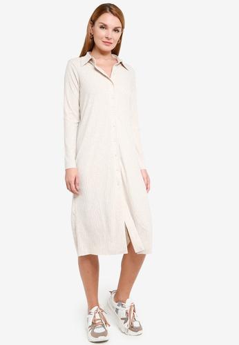 H&M beige Ribbed Shirt Dress 880CEAA35A3BC3GS_1