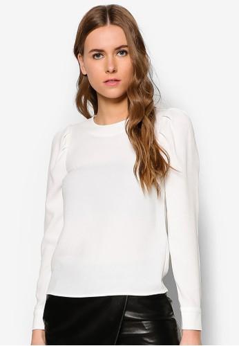 皺zalora taiwan 時尚購物網褶長袖上衣, 服飾, 上衣