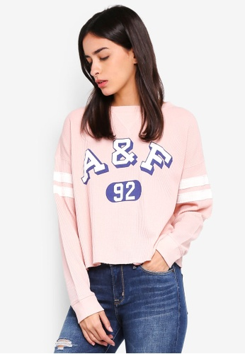 Abercrombie & Fitch pink Logo Waffle Sweatshirt C27C1AACA2AF61GS_1