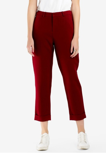 Hopeshow red Slim Fit Cuffed Pants E526EAAB93AAC2GS_1