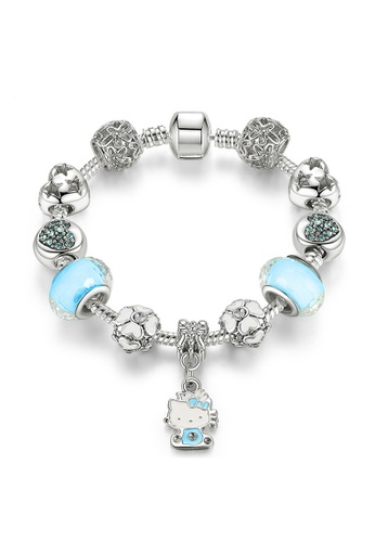 YOUNIQ blue and silver YOUNIQ Silver Charm Bracelet with Kitty Pendant Blue Murano Glass Beads Crystal Love Heart - 16cm 068A3ACCA4E926GS_1