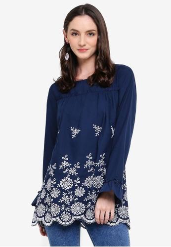 TOPGIRL blue Long Sleeve Embroidered Blouse E5FFFAAEF8FD46GS_1