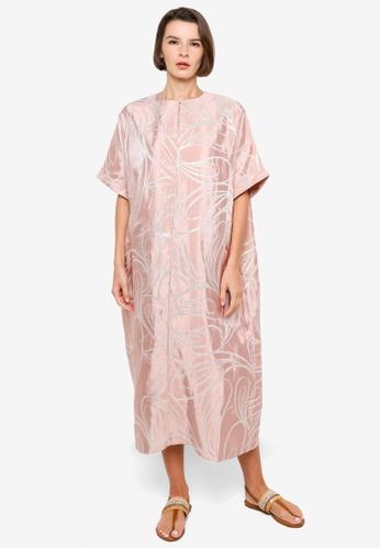 H&M pink and multi Shimmering Metallic Kaftan 363B3AA27AD1B6GS_1