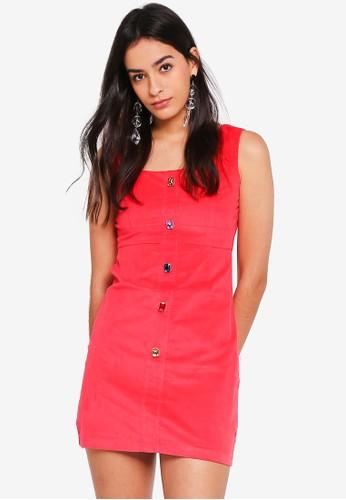 GHOSPELL red Uppercut Bodycon Dress 8F85DAAB918036GS_1