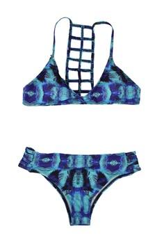 Tropical Linear Back Details Two Piece Swimwear