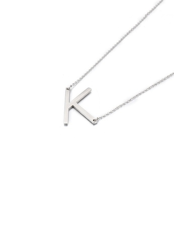 Glamorousky silver Simple and Fashion English Alphabet K 316L Stainless Steel Pendant with Necklace 358FCACF131C8AGS_1