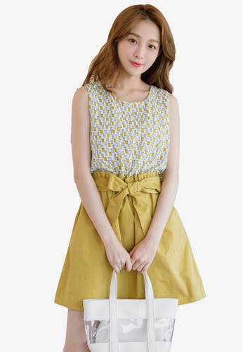 Eyescream yellow Printed Faux 2-Piece Dress 25539AA4D327BAGS_1