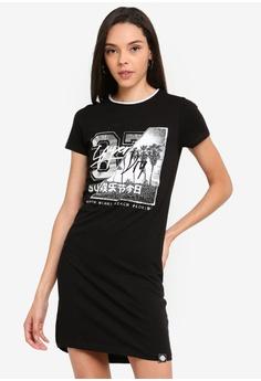 fdce505146c Superdry black Slim T-shirt Dress 05A39AAF9576C2GS 1