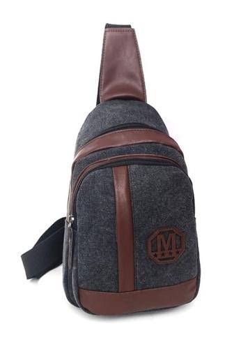Jackbox black Korean Fashion Canvas Mix Leather Sling Shoulder Messenger Bag 341 (Black) JA762AC0RNE3MY_1
